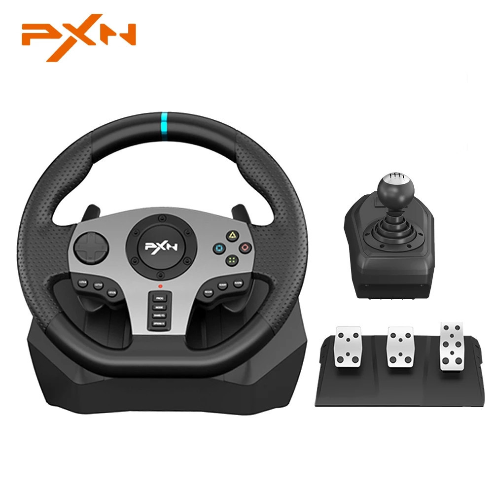 PXN V9 Gaming Steering Wheel Pedal Vibration Racing Steering Wheel Game Controller for Xbox One for PC for PS 3 4 for N-switch