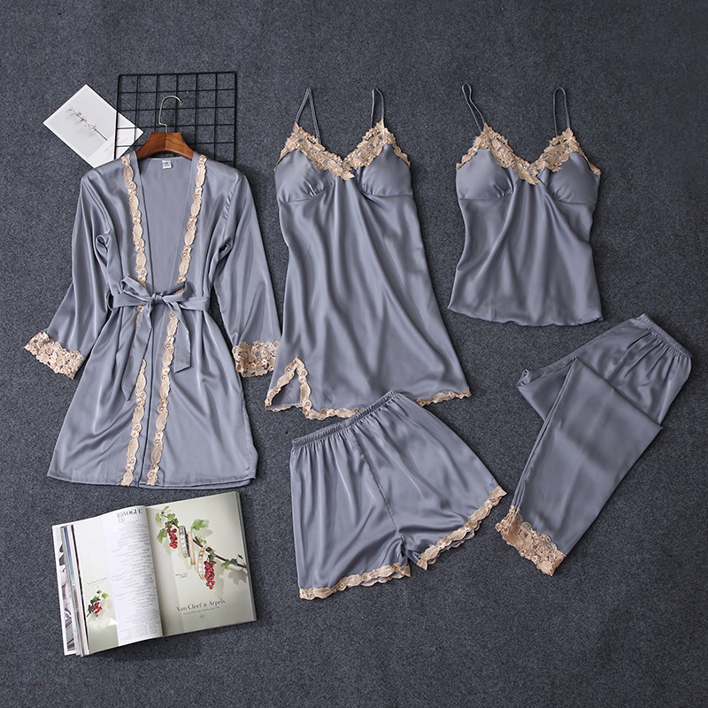 QWEEK 5 Pieces Sets Women Pajama Set Sexy Lace Satin Sleepwear Women Pajamas For Women Pijama Pyjama Casual Sleep Lounge