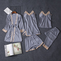 QWEEK 5 Pieces Sets Women Pajama Set Sexy Lace Satin Sleepwear Women Pajamas for Women Pijama Pyjama Casual Sleep Lounge