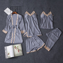 QWEEK Satin Sleepwear Pajama-Set Lounge Lace 5pieces-Sets Sexy Women for Casual