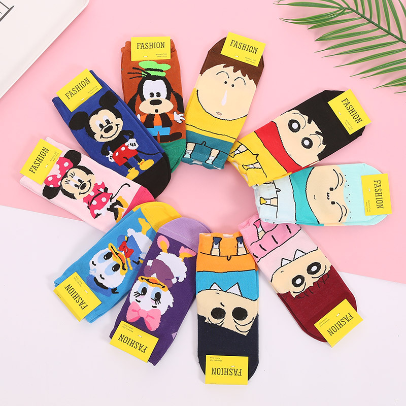 5Pairs/lot Cartoon Character Socks Women Harajuku Kawaii Short Ankle Socks Cotton Hipster Cute Cartoon Socks For Girls Summer