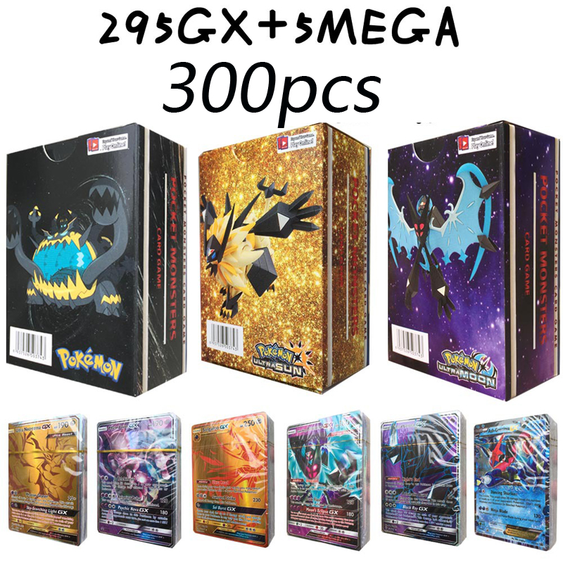 300PCS Magic Flash Pokemon Card 295GX+5MEG English Version POKEMON No Repetition Game Collection Cards Christmas Gift Toys