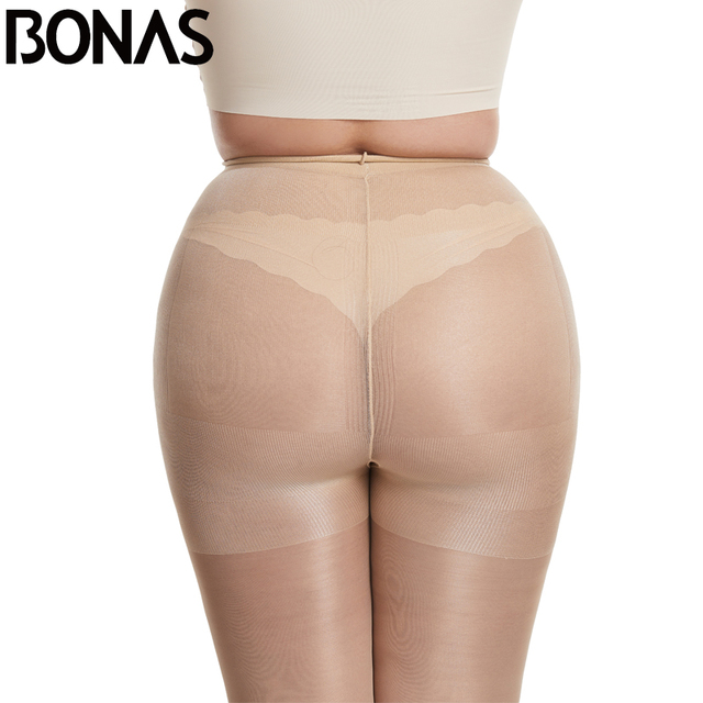 BONAS 20D Sexy Breathable Tights Women High waist Sun Protection Pantyhose T crotch Nylon Tights Stretchy Slim Stockings Female 2