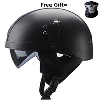Half Face Vintage Motorcycle Helmet Retro German Kask Cafe Racer Scooter Cruiser Chopper gloss black EPS lining DOT approved|Helmets|   -