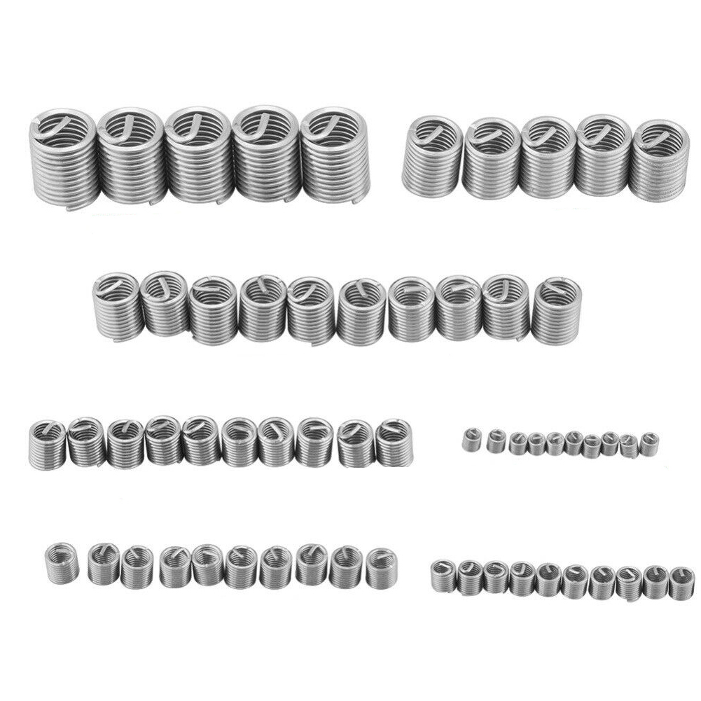 60pcs Stainless Steel Wire Screw Sleeve Useful Spiral Repair Tool Industrial Fastening High Strength Thread Insert Set Home