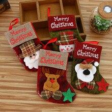 New Merry Christmas Stocking Mini Sock Santa Claus Candy Gift Bag Decorations Hanging Socks Tree