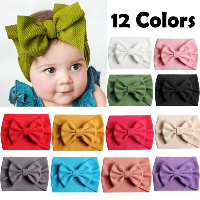 Elastic Baby Toddler Girls Bow Hairband Headband Stretch Turban Knot Head Wrap