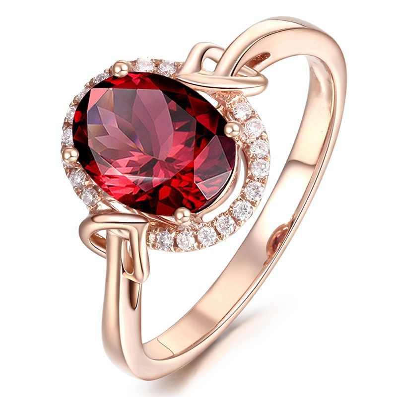 Oval Batu Merah CZ Warna Rose Gold Micro Membuka Pernikahan Cincin untuk Wanita Wanita Pertunangan Fashion Perhiasan Mewah Trendi ADR008