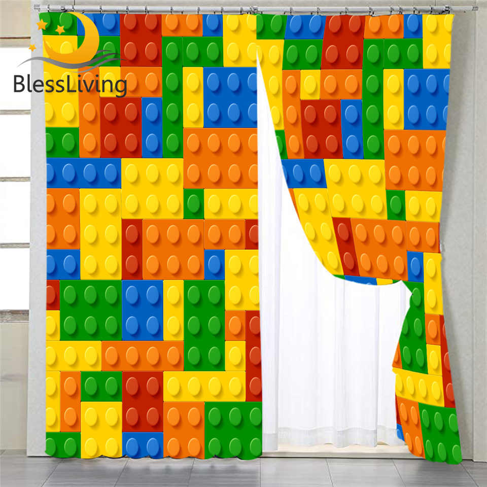 BlessLiving Toy Print Living Room Curtains Dot Building Blocks Curtain for Kids Bedroom Colorful Bricks Game Window Drapes 1pc
