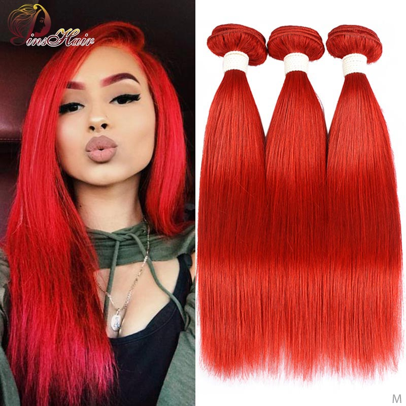 Red 99J Burgundy Straight Hair Bundles 1/3 Pcs Brazilian Hair Weave Bundles Red Human Hair Weave Extensions Pinshair Remy Hair
