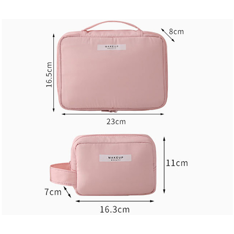 Travel Cosmetic Bag Beautician Make up Bag Quick Makeup Bag Purse Toiletry Bag Organizer Pink Makeup Pouch Waterproof Handbag
