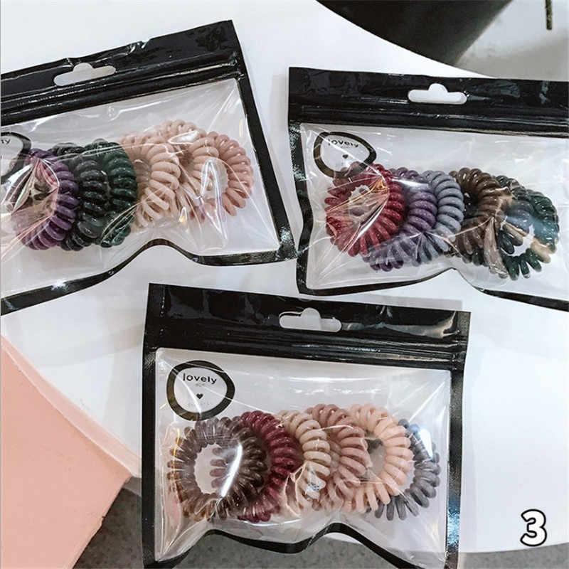 6PCS פלסטיק אביב מסטיק ברור טלפון חוט אלסטי שיער להקות שיער קשרי לא קמט סליל קוקו מחזיק שיער אבזרים