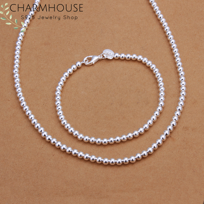 Charmhouse Silver 925 Jewelry Sets For Women 4mm Bead Ball Chain Necklace Bracelet Collier Pulseira 2Pcs Costume Jewelery Set
