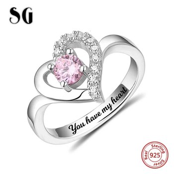 925 Sterling Silver Personalized Classic Heart Shaped Engraved Name & Birthstone Ring Custom Jewelry Mothers Day