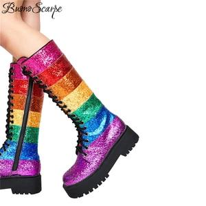 Image 3 - Buono Scarpe Bling Blingผู้หญิงกลางลูกวัวรองเท้าบูทรองเท้าผู้หญิงสายรุ้งSequined Botas Fenimina Crossผูกสุภาพสตรีรองเท้า 2019 ใหม่