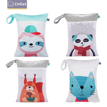Elinfant 10 pcs Baby Diaper Bag Nappy Changing Stroller Hanging Organizer Bag Pattern Wet Cloth Cartoon Double Zipper 30 * 40cm