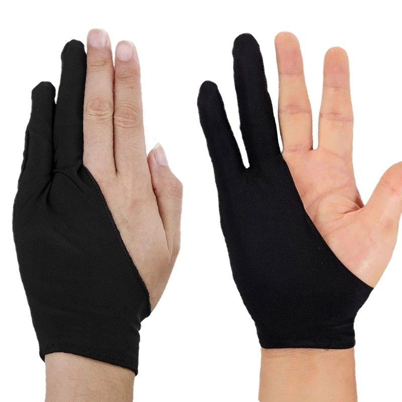1 Piece Two Finger Anti Fouling Glove For Artist Drawing