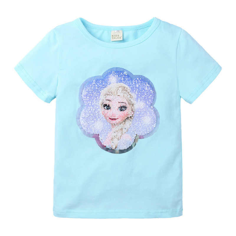 Elsa & Anna 2-8T Cute Baby Girls Princess T-shirt Cotton Double-Sided Pattern Sequin Clothes Tops Cartoon Print T Shirts O-neck
