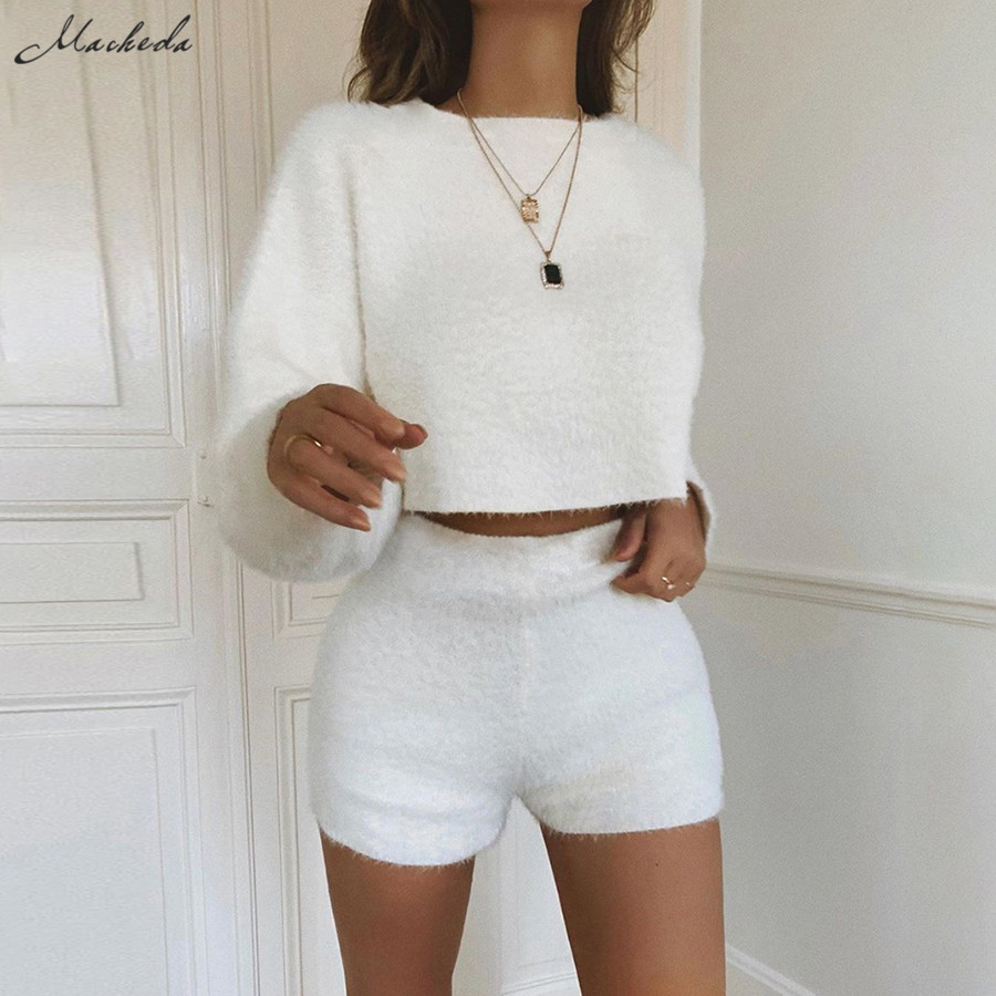 Macheda Best Selling Female New Casual Bat Sleeve Long-sleeved Blouse + Shorts Two-piece Elegant Solid Color Plush Two-piece