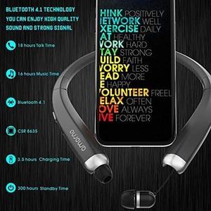 Image 2 - Amorno سماعة لاسلكية تعمل بالبلوتوث سماعات ستيريو HD الحديث شريط حول الرقبة سماعات رأس مضادة للعرق Fone De Ouvido الأذنية للهاتف