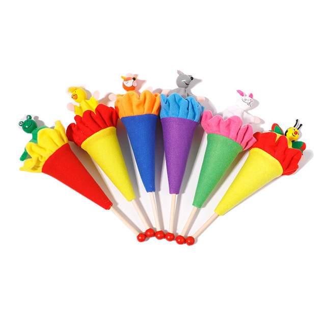6Pcs/Set Retractable Smiling Clown Toy Doll Funny Telescopic Hide-and-Seek Plush Doll Toy Cone Toy Children Educational Toy 5