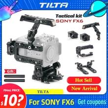 Pré-venda tilta armadura para sony fx6 vertical tiro armadura com sistema de alimentação/v montagem placa de bateria fotografia acessório