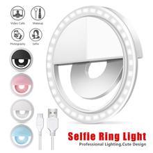 3000-5000K LED USB зарядка селфи кольцо Светодиодная лампа мобильный телефон объектив Светодиодная лампа для селфи кольцо для Iphone Samsung Xiaomi