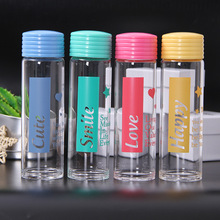 350ml Glass Water Bottle Portable Leakproof Thermoplastic Plastic Cute Sports Outdoor Running Camping Hiking Student Gift