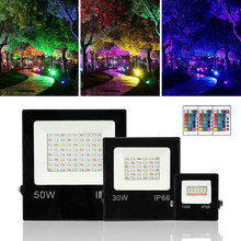 Hot selling RGB IP66 50W 30W 10W Led Overstroming Licht SMD Led Flood Lamp Reflector Led remote controle Outdoor Straatverlichting.(China)