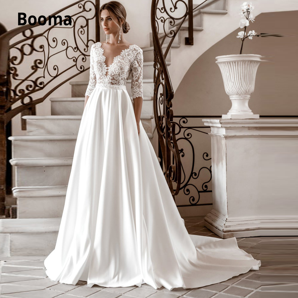 Booma A-line Satin Wedding Dresses Lace V-neck 3/4 Sleeve Boho Bridal Gown Vintage Princess Party Dress Sweep Train Plus Size