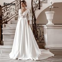 Booma A line Satin Wedding Dresses Lace V neck 3/4 Sleeve Boho Bridal Gown Vintage Princess Party Dress Sweep Train Plus Size