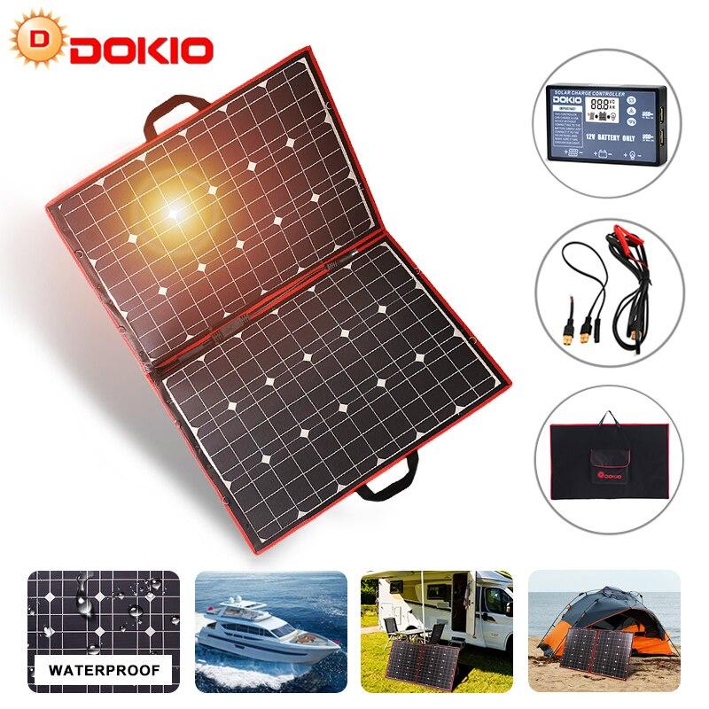 Dokio Brand 110w(55Wx2pcs) Flexible Foldble Mono Solar Panel 100W For Travel & Boat & RV High Quality Portable Solar Panel China