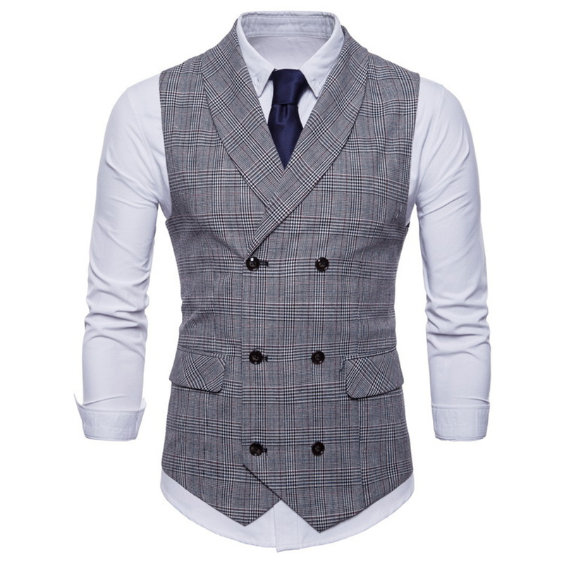 Brand Suit Vest Men Jacket Sleeveless Beige Gray Brown Vintage Tweed Vest Fashion Spring Autumn Plus Size Waistcoat