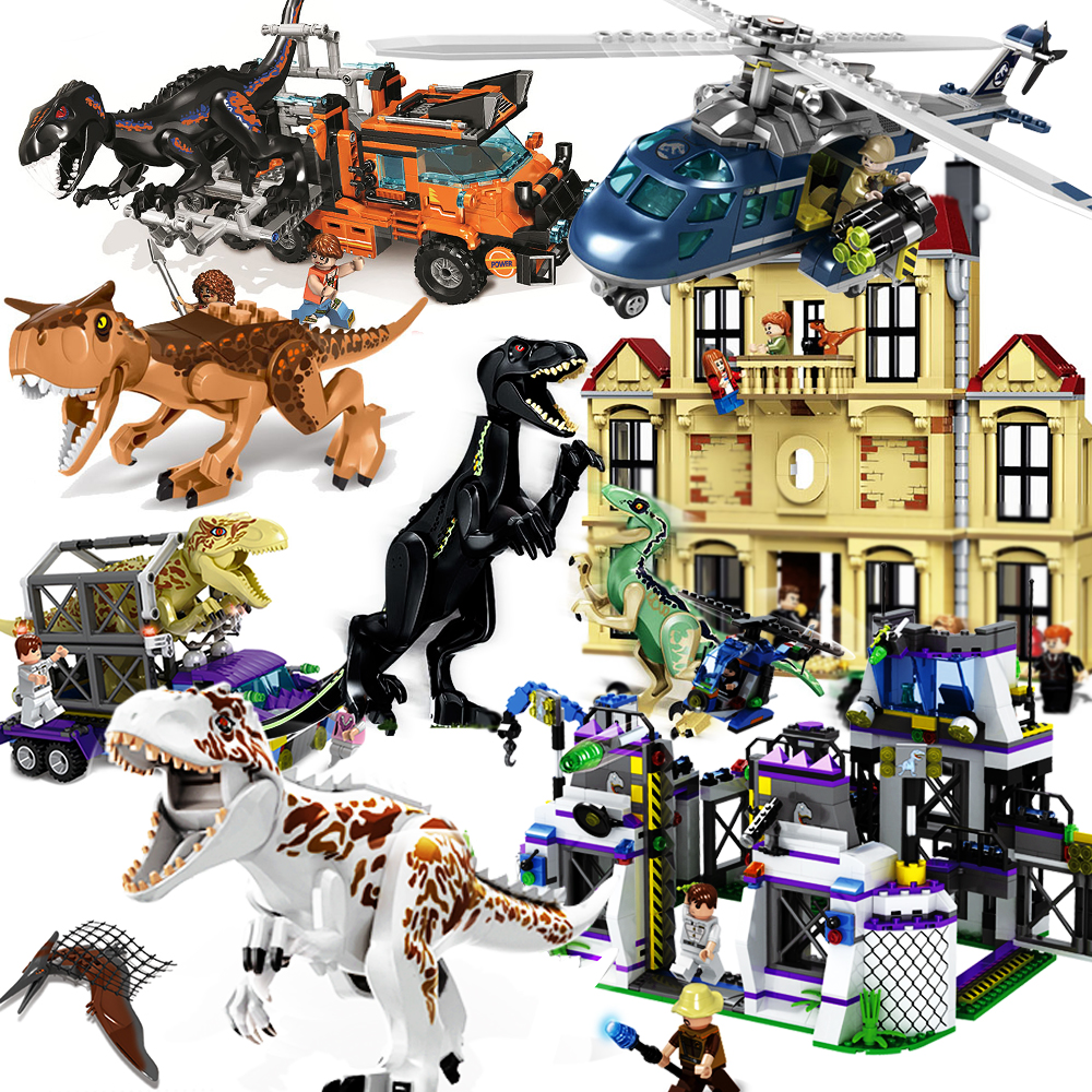 Jurassic World Compatible Legoinglys Set 4 Park 3 Dinosaur T-rex Building Blocks Bricks Children Boys Toy Kids Holiday Gifts