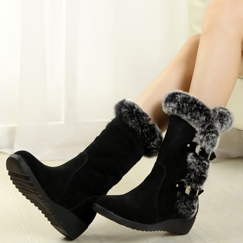 Women Winter Boots Flock Winter Shoes Ladies Fashion Snow Boots Shoes Thigh High Suede Mid-Calf Boots 13