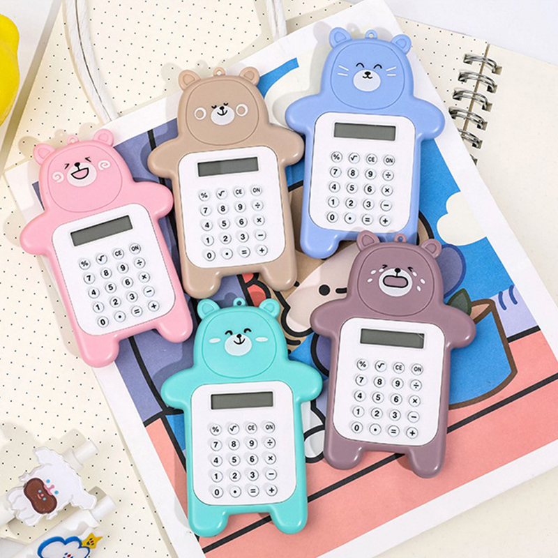 1pc Cute Pocket Calculator Handy Size 8 Digit Display Battery Operated Office Kawaii Animal Calculator Gifts For Kids Girl