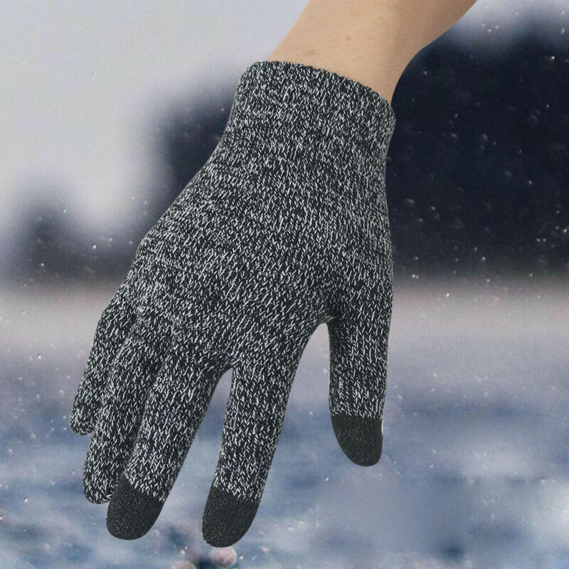 Winter Touch Screen Gloves Women Men Warm Stretch Knit Mittens Imitation Wool Full Finger Guantes Female Crochet Soft Thicken