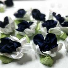 40pcs navy color ribbon flowers with leaf handmade apparel sewing appliques DIY accessories A574