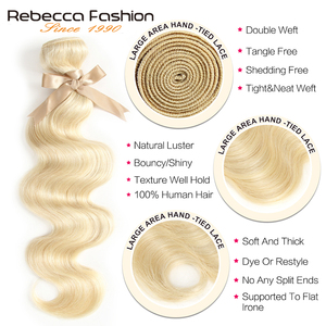 Image 4 - Rebecca 613 Blonde Bundles With Frontal Peruvian Body Wave 3 Bundles Remy Blonde Human Hair Lace Frontal Closure With Bundle