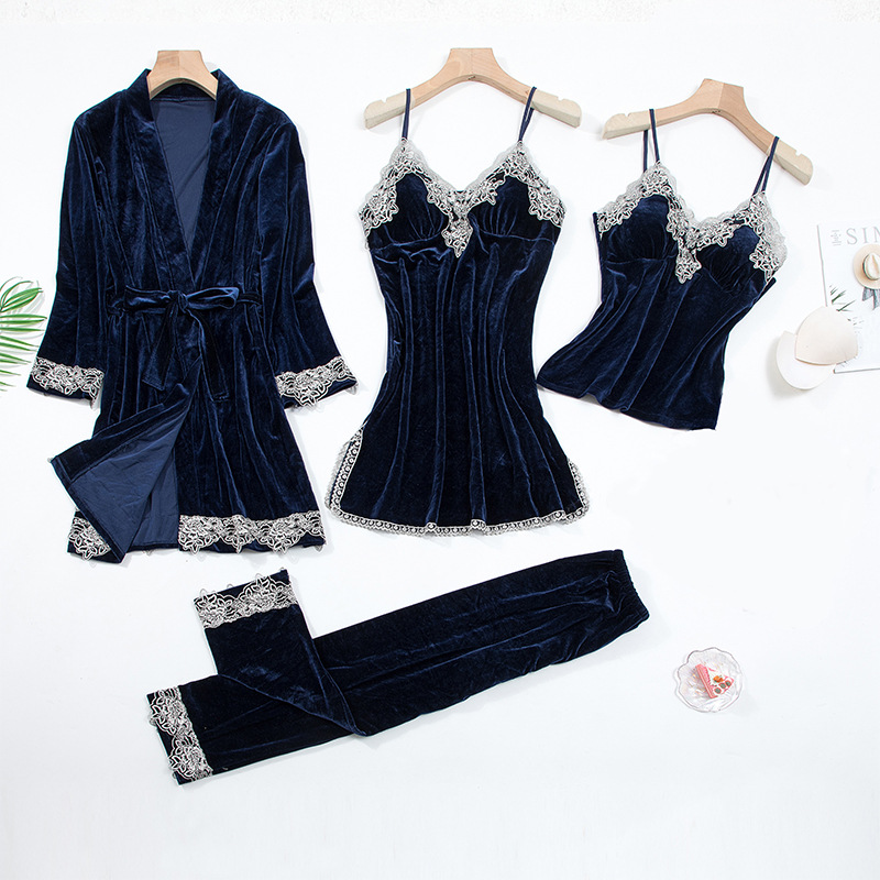 2020 Gold Velvet 4 Pieces and 5 Pieces Warm Winter Pajamas Sets Women Sexy Lace Robe Pajamas Sleepwear Kit Sleeveless Nightwear 10