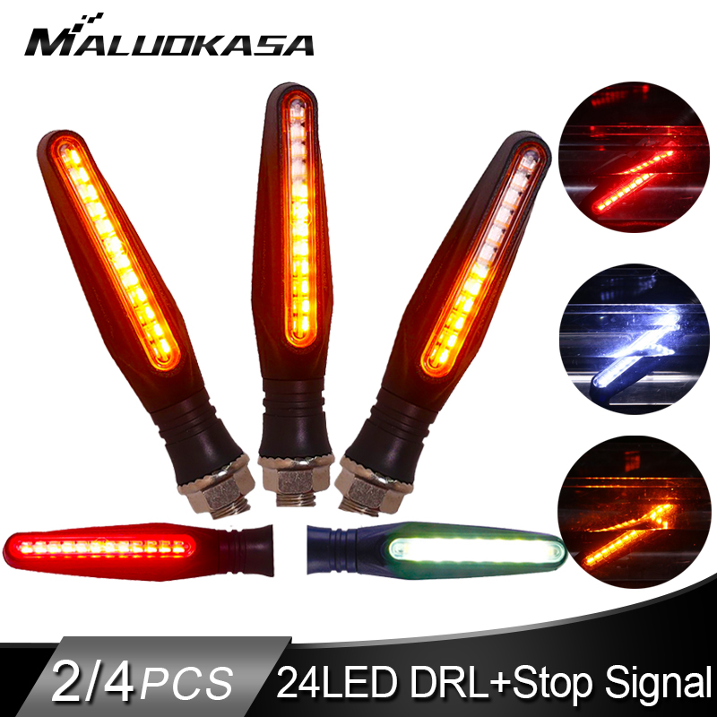 Motorcycle Turn Signals Light LED Flowing Water Flashing Lamp Built-in Relay Blinker Stop Signals IP68 Bendable Tail Lights