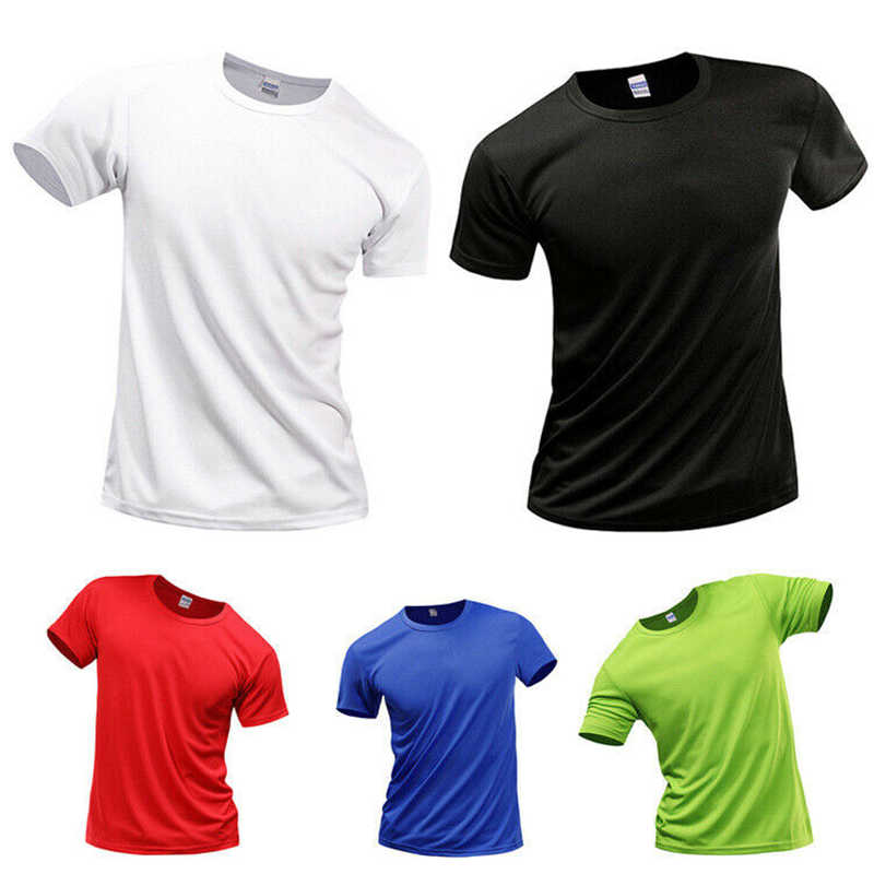 T-Shirt Breathable Mans Wicking Dry Athletic Smooth Tee Polyester Quick Mens Solid Quick Drying T-shirt Size S-4XL