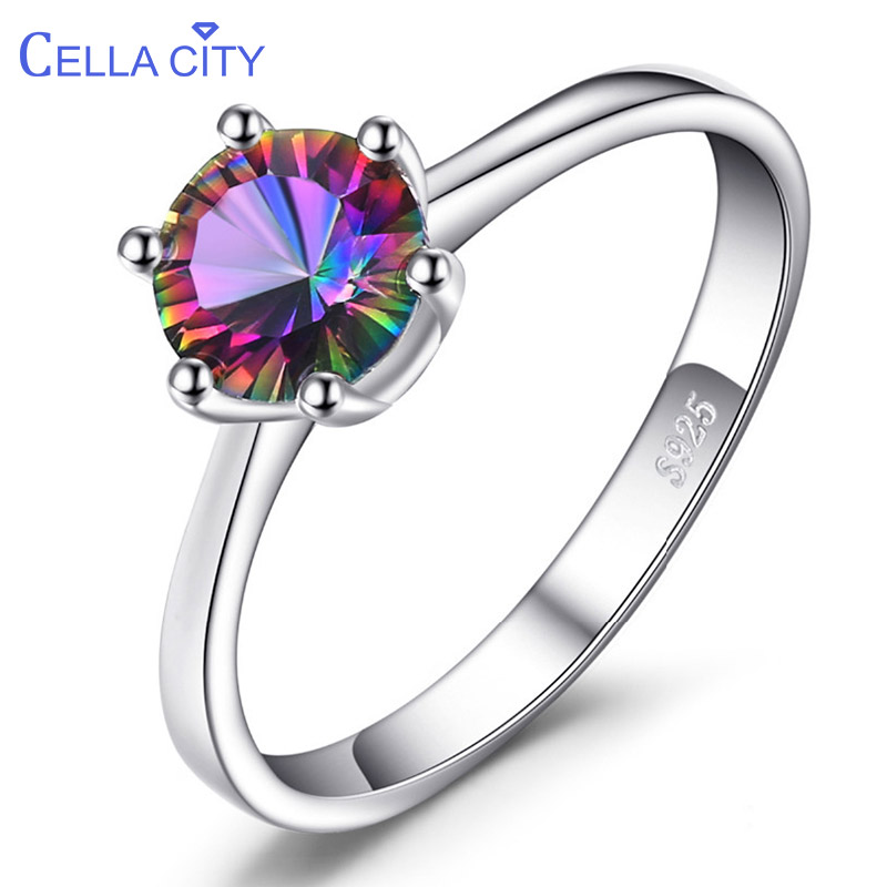Cellacity Genuine Rainbow Mystic Topaz Ring 925 Sterling Silver Rings for Women Engagement Ring Silver 925 Gemstones Jewelry