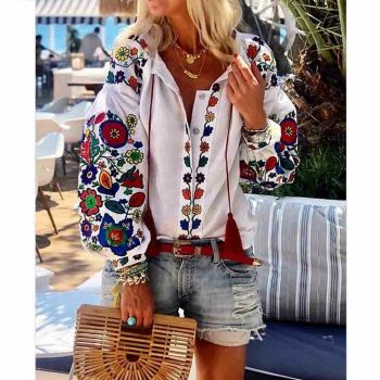Hirigin Spring Autumn Women Casual Flower Print Linen Button Long Lantern Sleeve Tunic Blouse National Feature Wear lantern sleeve striped button front blouse