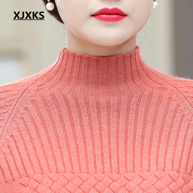 XJXKS ผู้หญิงเสื้อกันหนาว 2019 ฤดูใบไม้ร่วงฤดูหนาวใหม่สบายยืดหยุ่นสูง Slim แคชเมียร์ถักเสื้อกันหนาวผู้หญิง Pullover