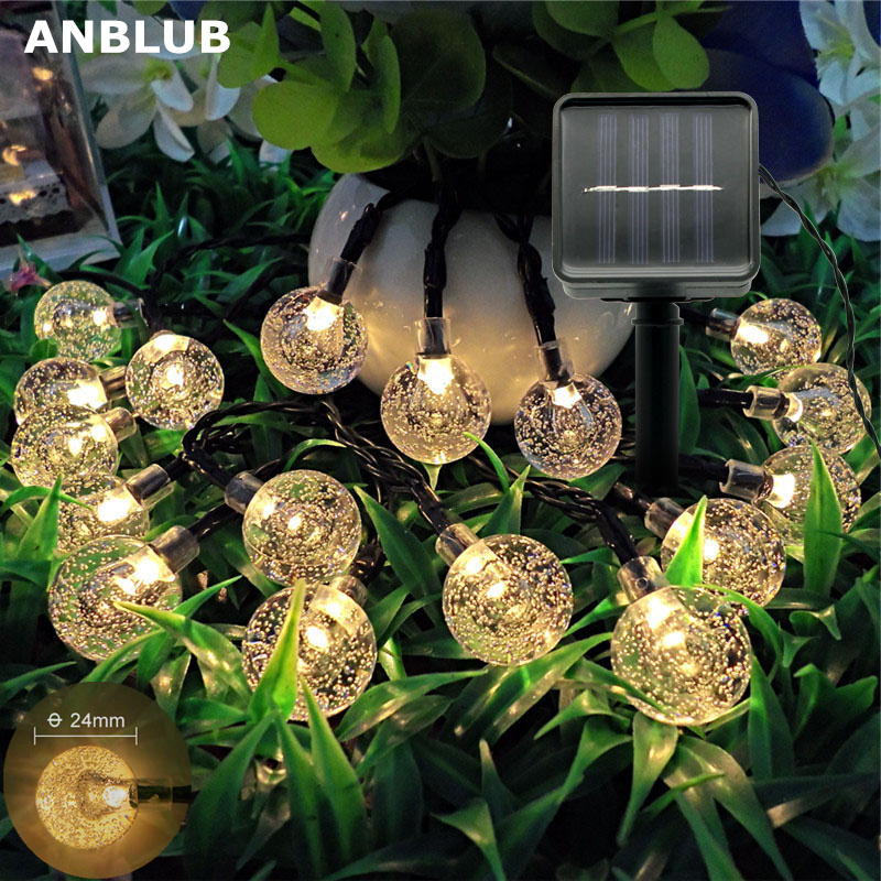 ANBLUB Solar Powered Flash String Lights Waterproof Crystal Ball Fairy Lights For Outdoor Patio Yard Garden Christmas Decoration