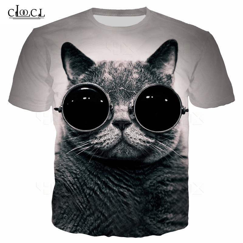 Animal Print 3D T-Shirts Cat Pattern Tees Men Hoodies Sunglasses Unisex Sweatshirt Harajuku Style Hooded Women T Shirt Tees Mens