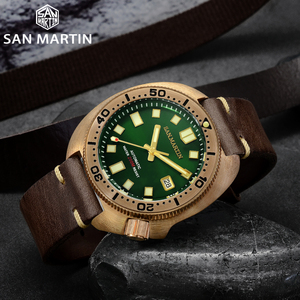 Image 2 - San Martin Abalone Bronze Taucher Uhren Männer Mechanische Uhr Leucht Wasserdicht 200M Lederband Stilvolle Uhren часы