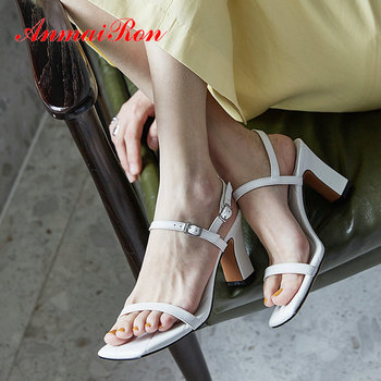 ANMAIRON Casual Genuine Leather Buckle Strap Mature Square Toe Women Sandals Luxury Shoes Women Designers  Fashion Sandals 34-40