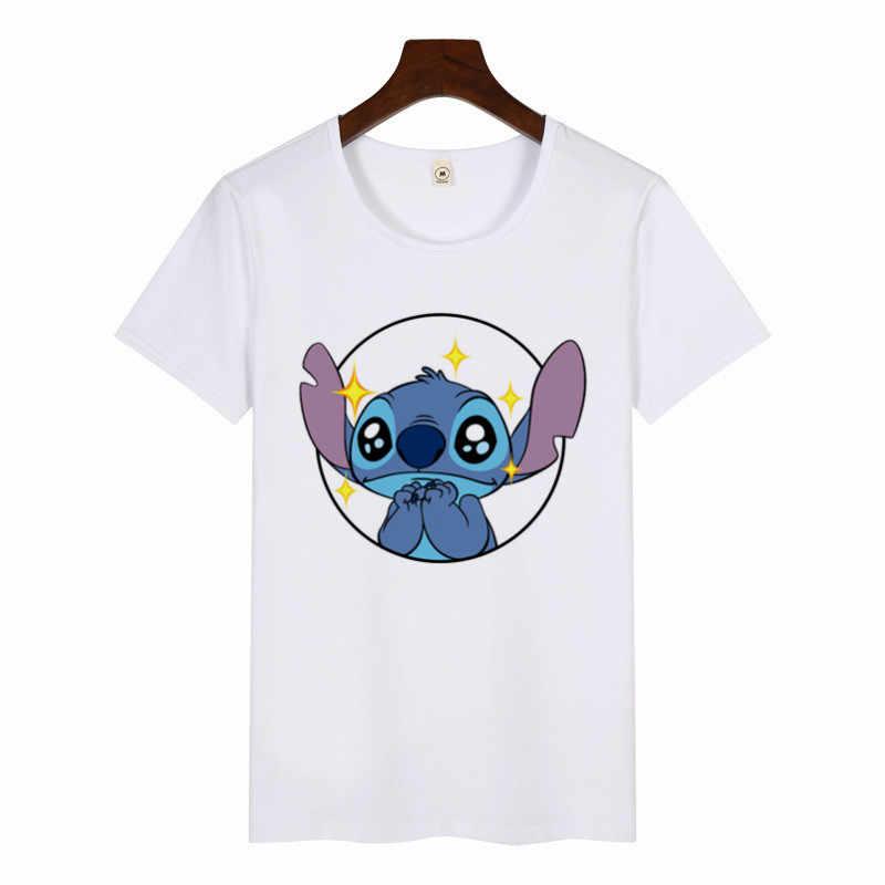 2019 Perempuan Lucu Seni Cetak T-shirt Harajuku Tshirts Wanita Stich T-shirt Musim Panas Grafis Atasan Wanita